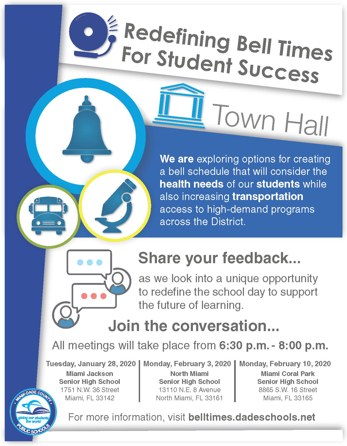 Bell Schedule Town Hall Flyer-
